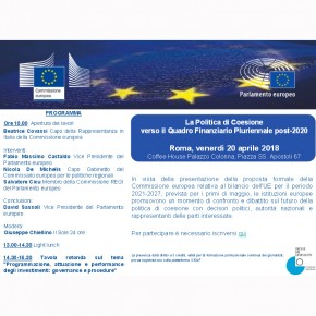 La Politica di Coesione verso il Quadro Finanziario Pluriennale post - 2020