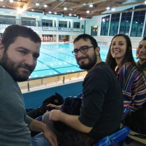 watching the match of water polo against Slovenia team